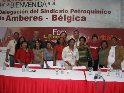 Belgian delegation with union and community leaders in Puerto La Cruz