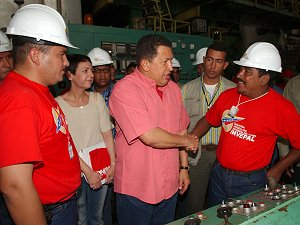 Chavez met with Invepal workers before his Sunday television program, which was broadcast from the factory.