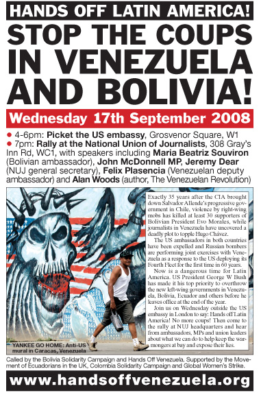 Defend the Bolivian and Venezuelan revolutions! No to coup plotting, no to US interference!
