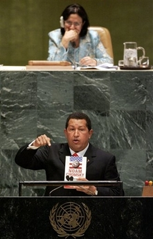 Hugo Chavez adressing the General Assembly