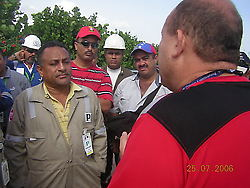 Stalin Perez Borges talking to striking workers