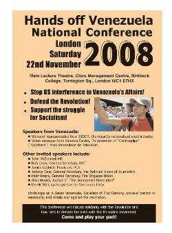 Hands Off Venezuela National Conference 2008 leaflet page 1
