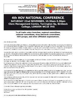 Hands Off Venezuela National Conference 2008 letter page 1